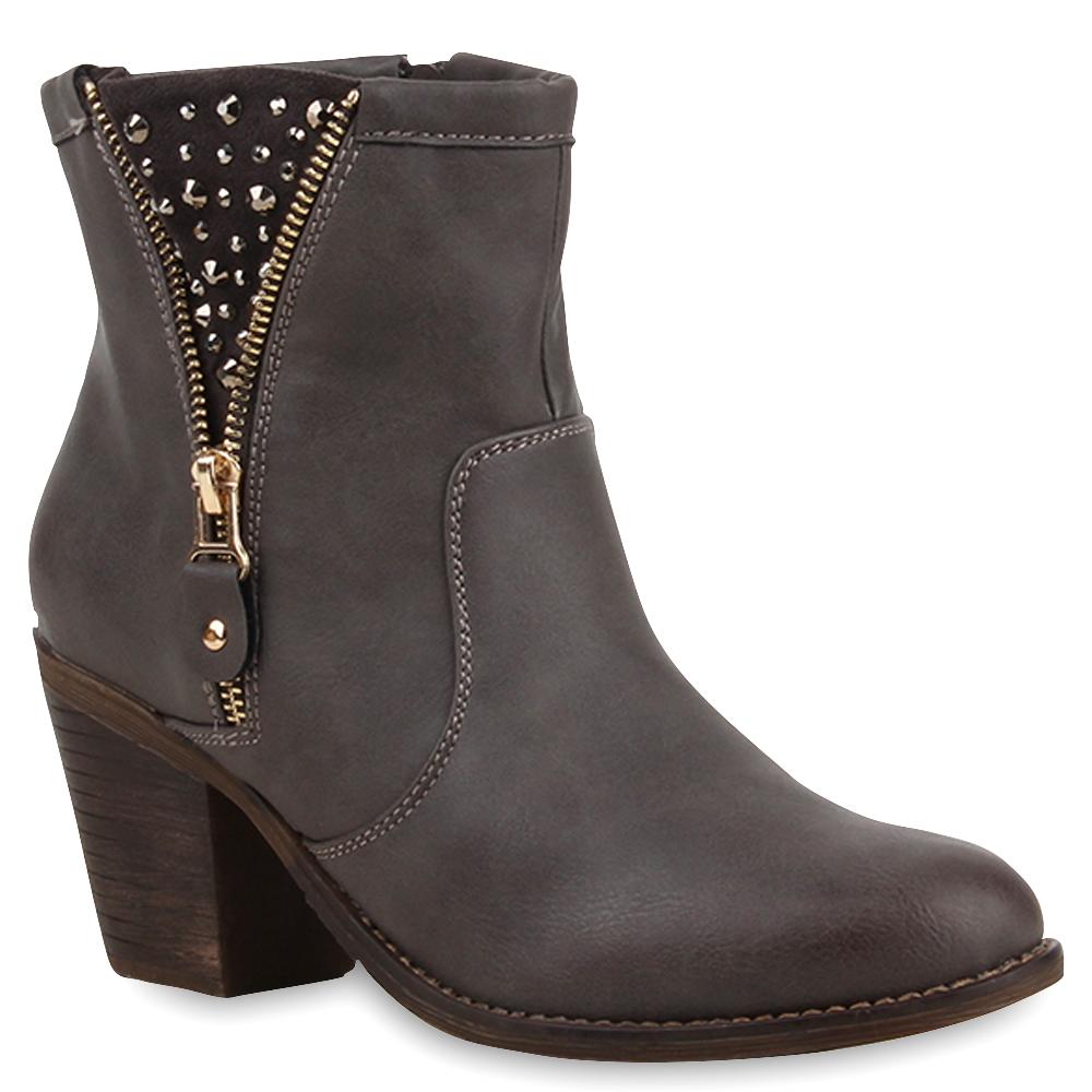 damen stiefeletten cowboy boots zipper western schuhe 75282 ebay. Black Bedroom Furniture Sets. Home Design Ideas
