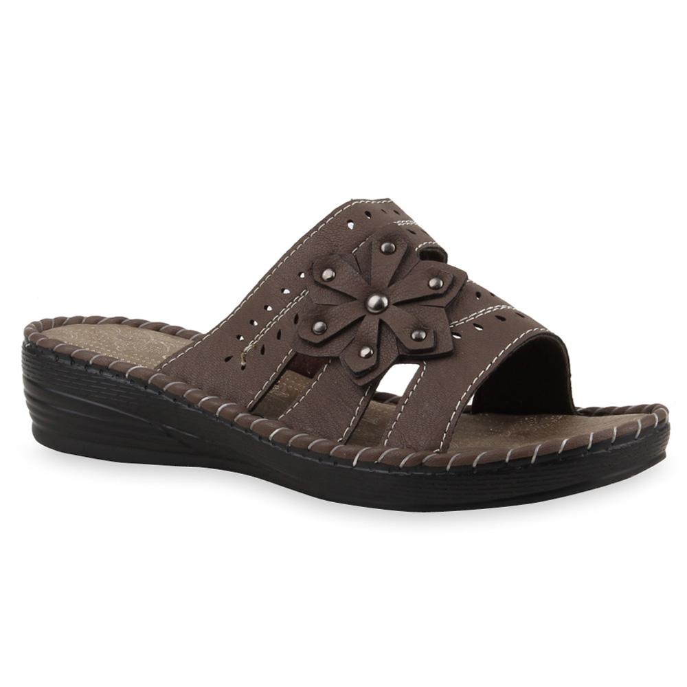 bequeme damen sandalen komfort schuhe pantoletten 75309 ebay. Black Bedroom Furniture Sets. Home Design Ideas