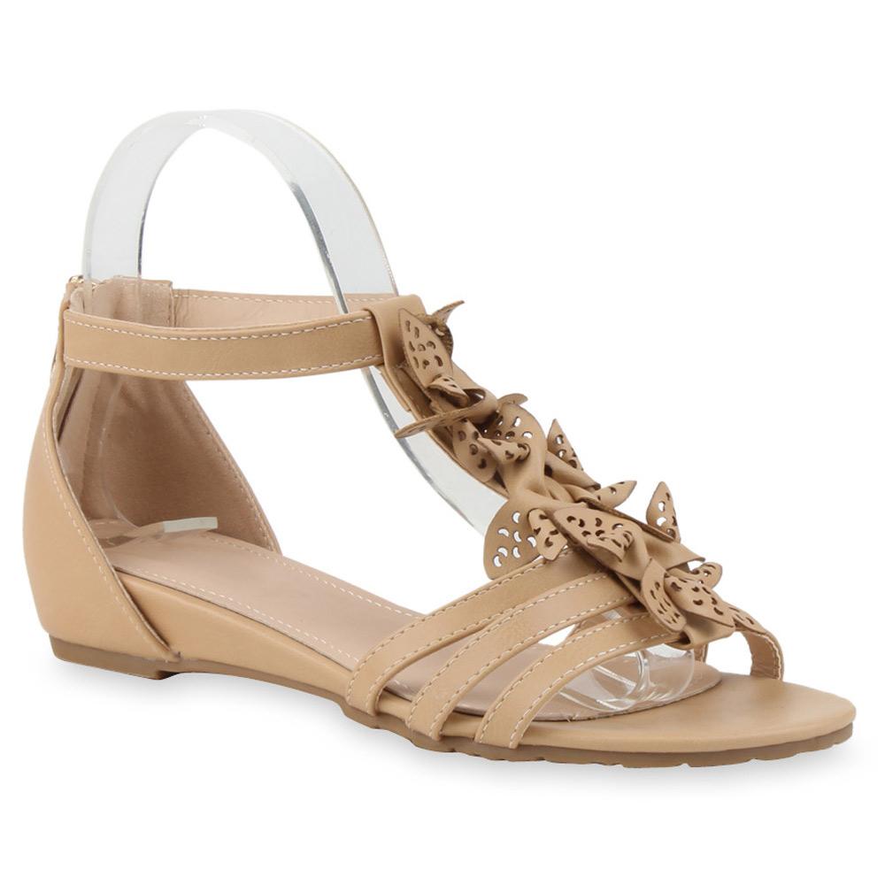 Damen Sandalen Blumen Riemchensandalen Sommer Schuhe 75460