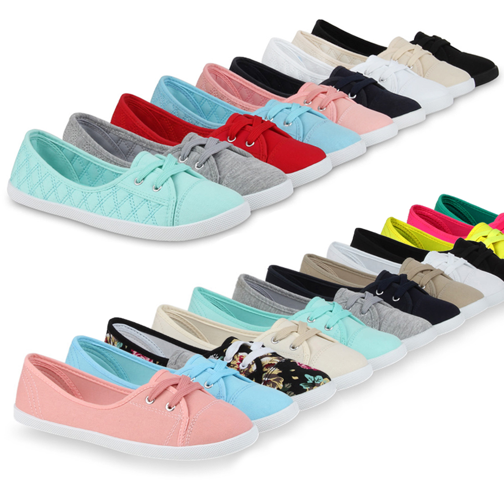 damen sneakers ballerinas casual 99550 sommer stoffschuhe flats 36 41 new look ebay. Black Bedroom Furniture Sets. Home Design Ideas