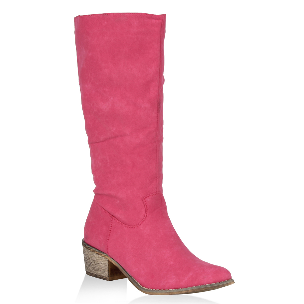 coole damen stiefel knallfarbe pink 99911 viele modelle ebay. Black Bedroom Furniture Sets. Home Design Ideas