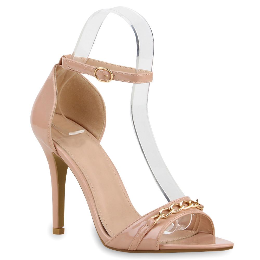 damen sandaletten high heels stilettos lack ketten schuhe. Black Bedroom Furniture Sets. Home Design Ideas