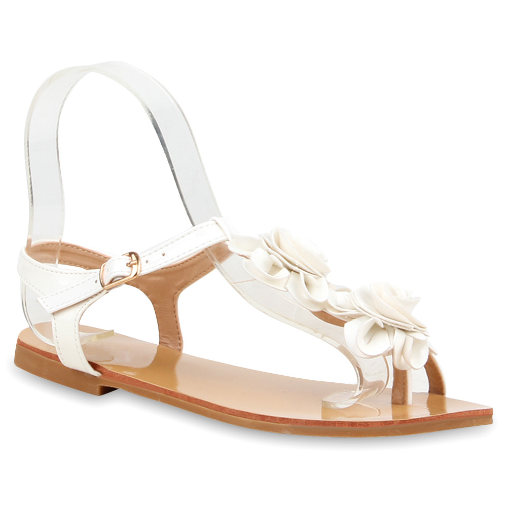 damen sandalen bequeme riemchensandalen blumen strass sommer 890530 schuhe ebay. Black Bedroom Furniture Sets. Home Design Ideas