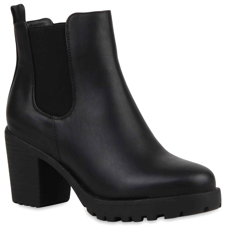 Damen Stiefeletten Chelsea Boots Profilsohle Blockabsatz 76976 Schuhe