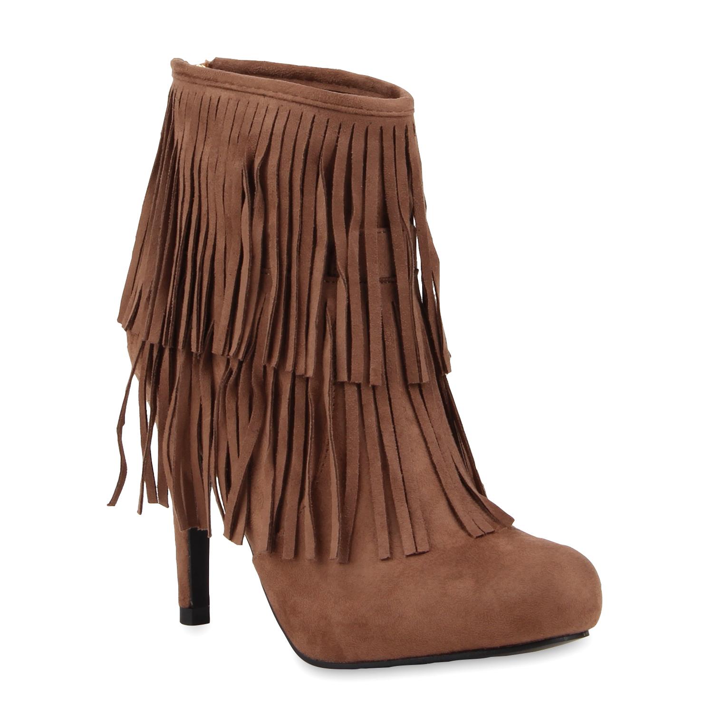damen stiefeletten fransen high heels boots ethno 76978. Black Bedroom Furniture Sets. Home Design Ideas
