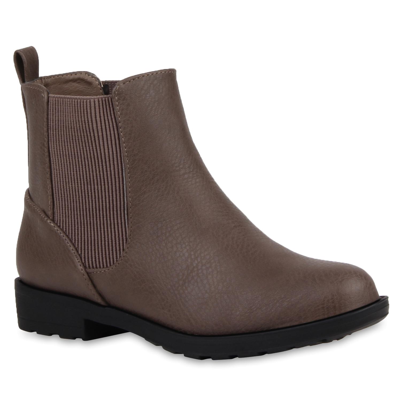 damen stiefeletten chelsea boots flache schuhe 76994 ebay. Black Bedroom Furniture Sets. Home Design Ideas