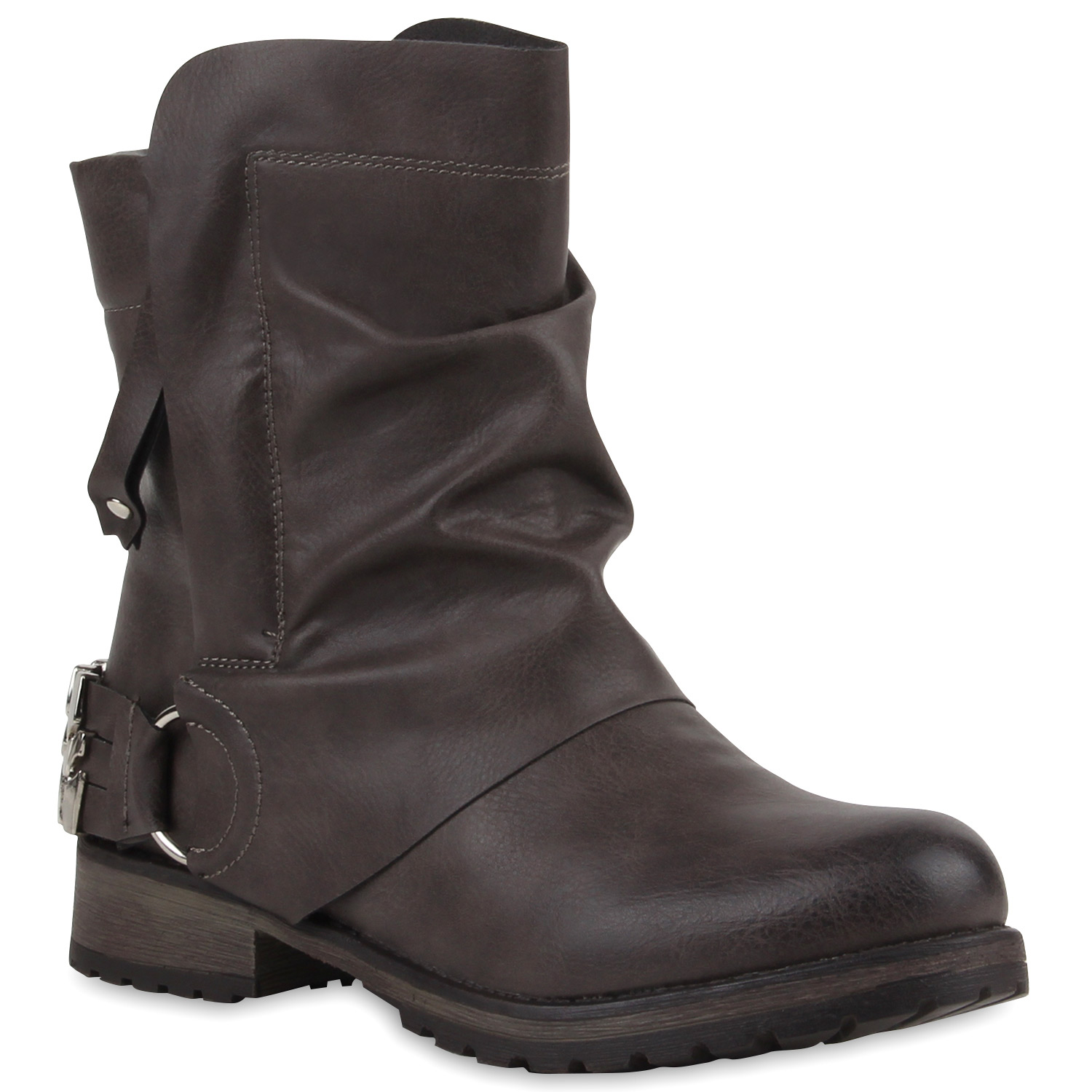 damen stiefeletten biker boots schwarze stiefel 77314 schuhe ebay. Black Bedroom Furniture Sets. Home Design Ideas