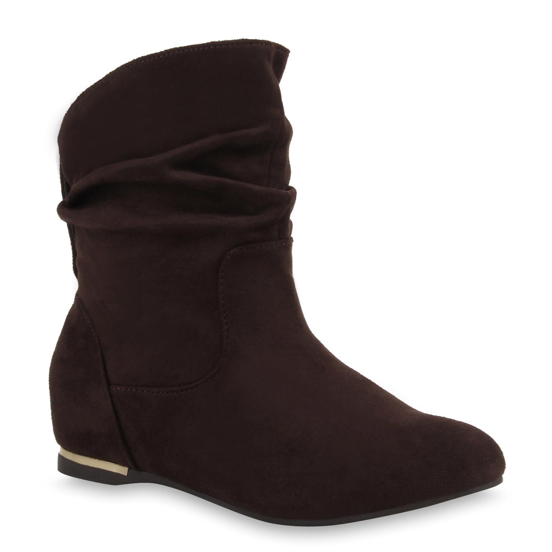 flache damen stiefeletten wildlederoptik boots. Black Bedroom Furniture Sets. Home Design Ideas