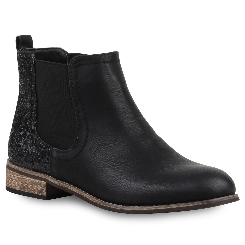 Damen Stiefeletten Chelsea Boots Glitzer 77730 Schuhe