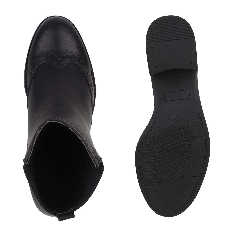 Femmes bottines chelsea boots dandy style brogues 77870 for Dandy look fa r damen