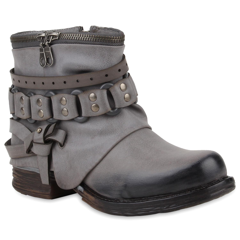 damen stiefeletten stiefel biker boots nieten zipper 78019. Black Bedroom Furniture Sets. Home Design Ideas