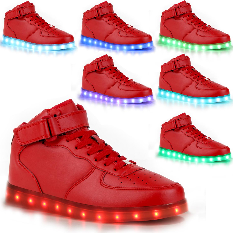 blinkende herren sneakers high led light farbwechsel schuhe 78314 led trendy ebay. Black Bedroom Furniture Sets. Home Design Ideas