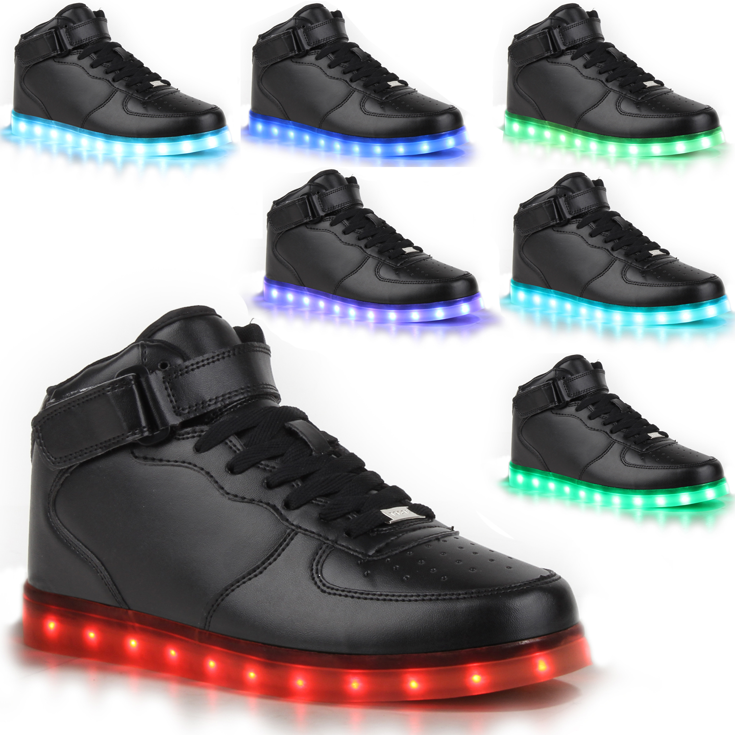 blinkende damen sneakers led light farbwechsel schuhe. Black Bedroom Furniture Sets. Home Design Ideas