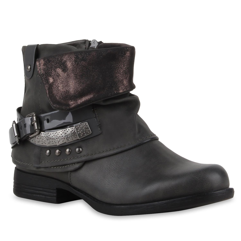 damen stiefeletten biker boots nieten lack stiefel 77621 top. Black Bedroom Furniture Sets. Home Design Ideas