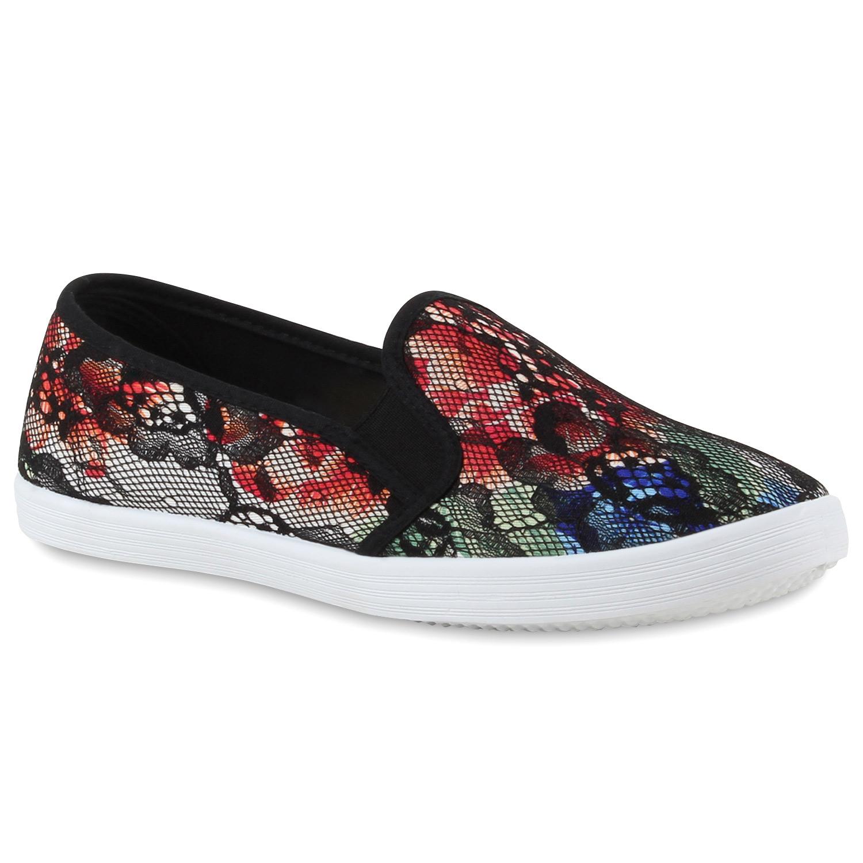 romantische damen blumen sneakers spitze slipper slip ons. Black Bedroom Furniture Sets. Home Design Ideas