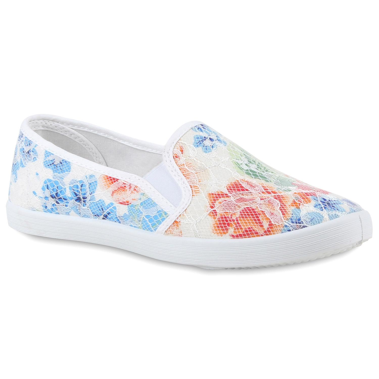 romantische damen blumen sneakers spitze slipper slip ons 78994 ebay. Black Bedroom Furniture Sets. Home Design Ideas