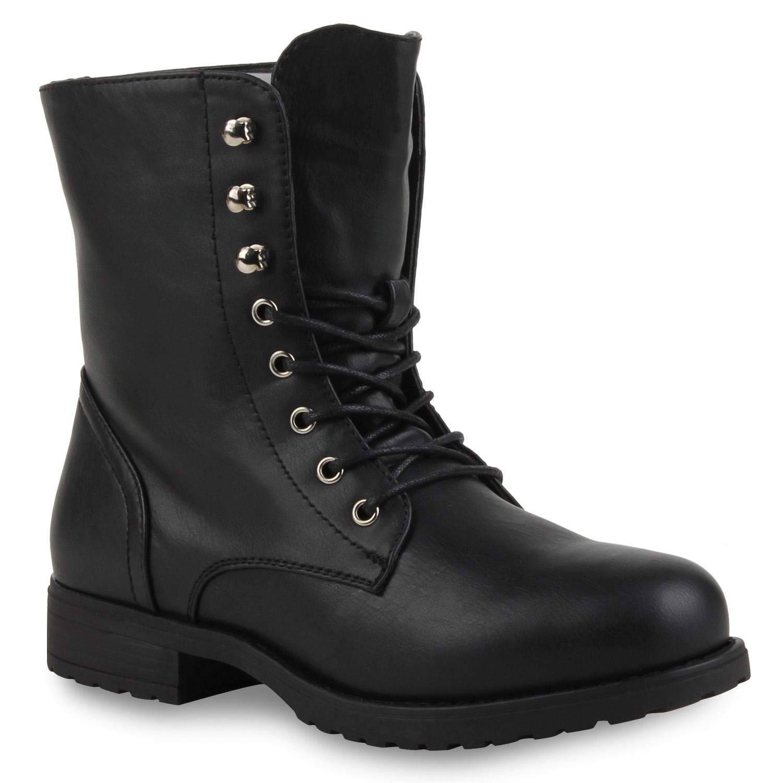 Damen Schnürstiefeletten Profilsohle Lederoptik Stiefeletten 79029 Schuhe