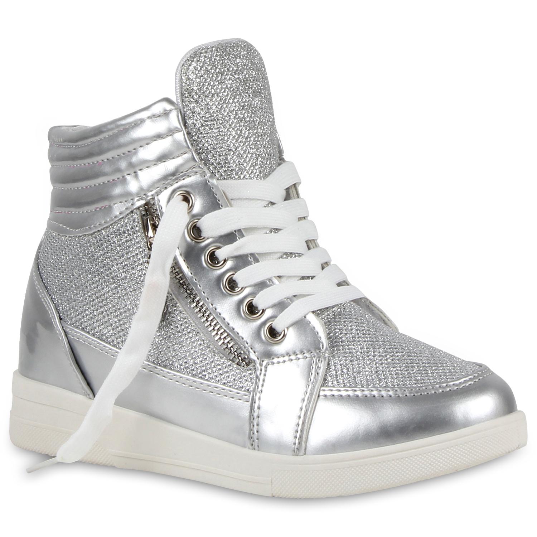0a0e0b2a61ac Damen Sneaker-Wedges Glitzer Sneakers Hidden Wedges Metallic 79341 ...
