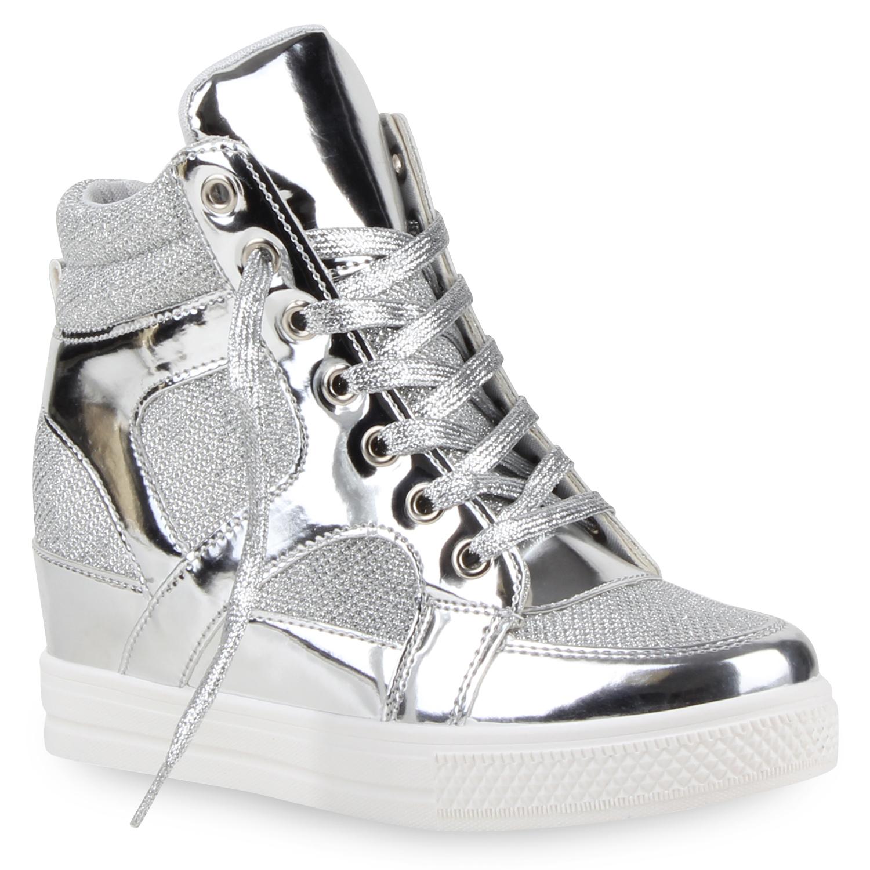e2e275bd1694 Metallic Damen Sneaker-Wedges Glitzer Keilabsatz Lack Sneakers 79669 ...