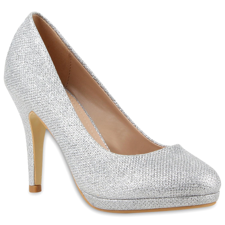 damen plateau pumps glitzer high heels stilettos abendschuhe 79727 trendy ebay. Black Bedroom Furniture Sets. Home Design Ideas