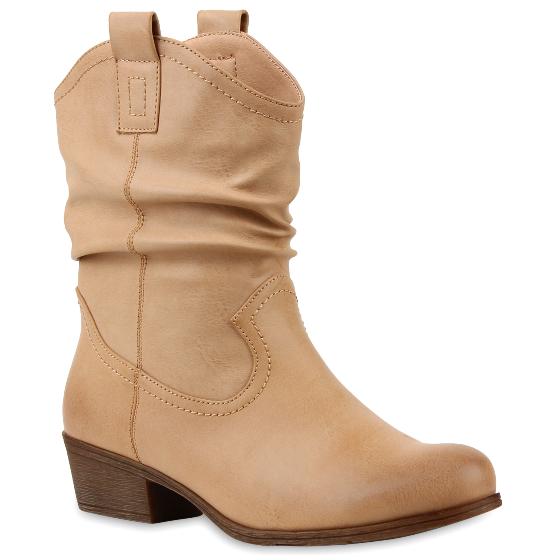 damen cowboy boots lederoptik stiefeletten blockabsatz stiefel 79785 schuhe ebay. Black Bedroom Furniture Sets. Home Design Ideas