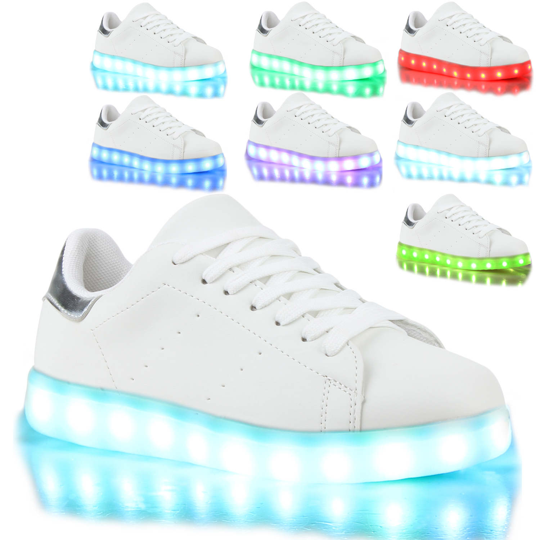 blinkende damen sneakers led light farbwechsel schuhe 77824 led licht modatipp ebay. Black Bedroom Furniture Sets. Home Design Ideas
