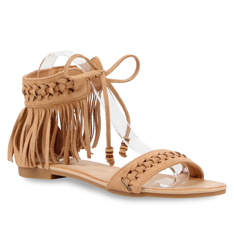 damen riemchensandalen fransen perlen lederoptik sandalen 810490 schuhe ebay. Black Bedroom Furniture Sets. Home Design Ideas