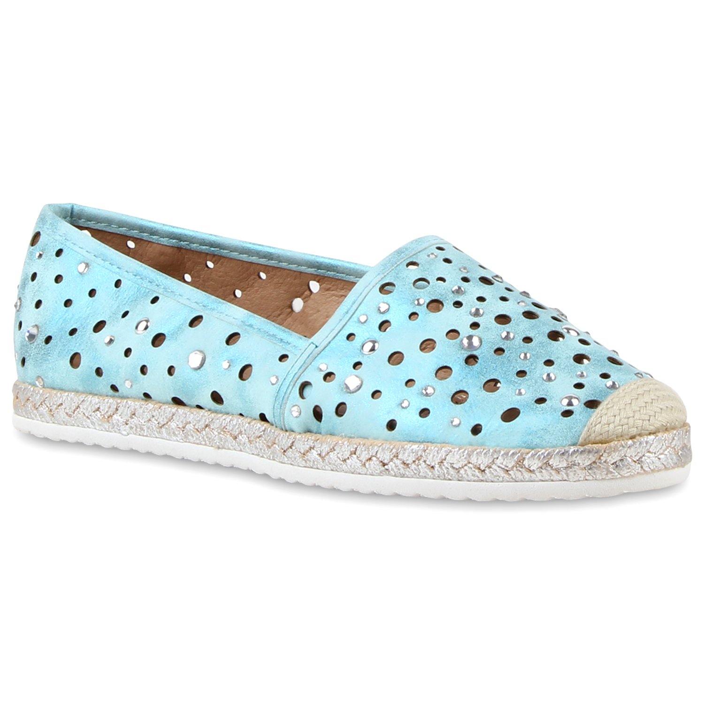 Damen Espadrilles Strass Slipper 810702 Cut-outs Bast  zapatos  810702 Slipper Top 002559
