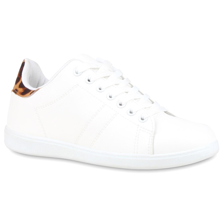 Sportliche Damen Sneakers Low Turnschuhe Flats Schnürer 810769 Retro Schuhe