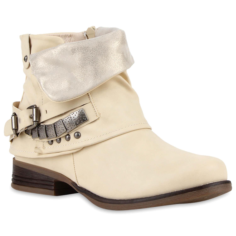 Damen-Biker-Boots-Nieten-Schnallen-Stiefeletten-Ungefuettert-811020-Top