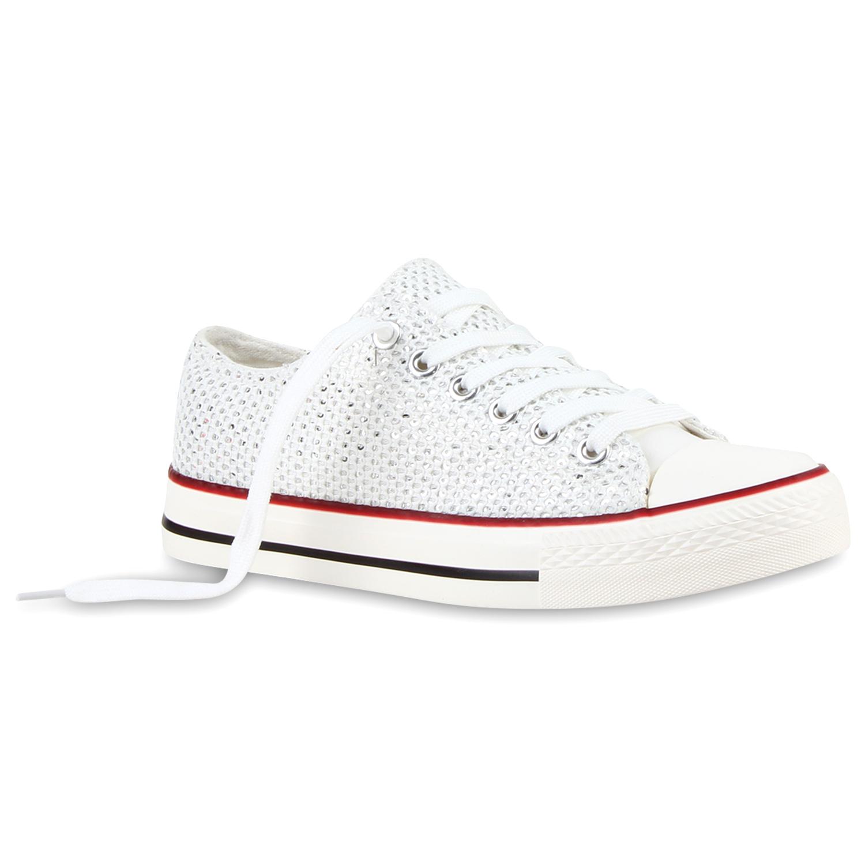 Damen Sneakers Low Glitzer Canvas Schnürer 811056 Schuhe