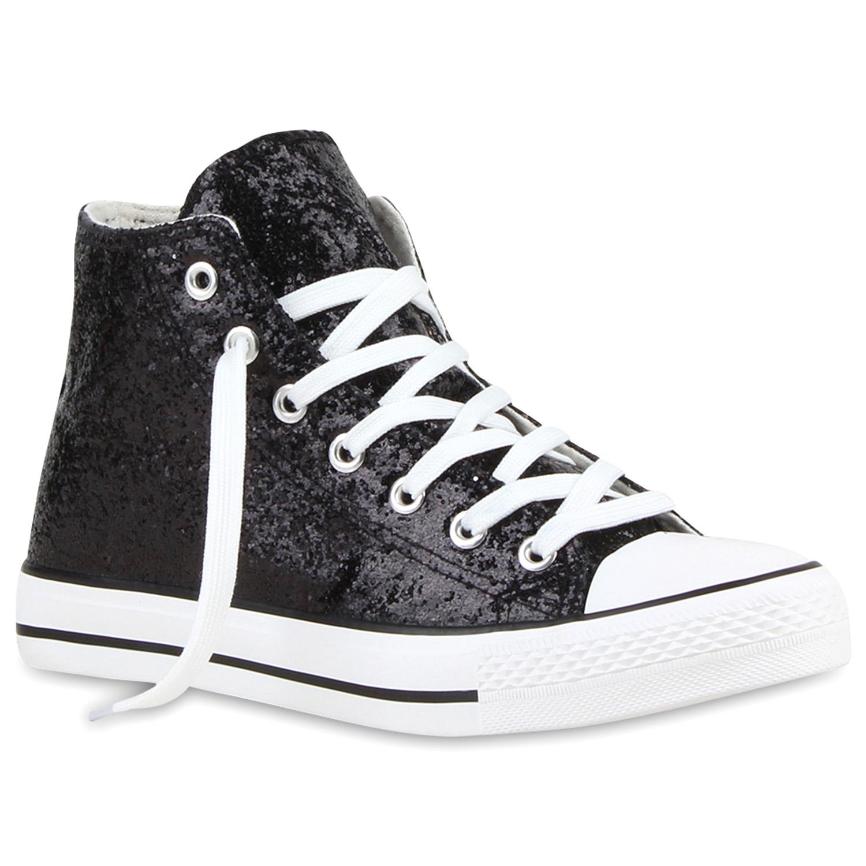 Damen Sneakers High Freizeit Glitzer Turnschuh Sportliche Schuhe 79445 Trendy