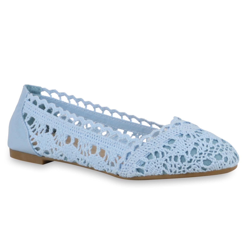 Klassische Damen Ballerinas Bequeme Flats Flats Bequeme Spitze Häkel-Optik 811222 Trendy f1e212
