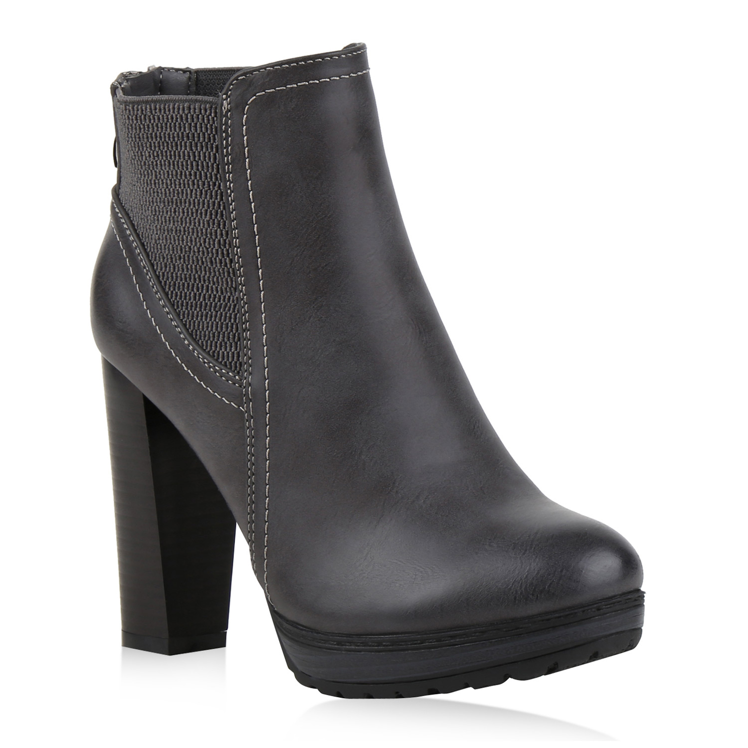 damen ankle boots plateau stiefeletten zipper holzoptikabsatz 78971 schuhe ebay. Black Bedroom Furniture Sets. Home Design Ideas