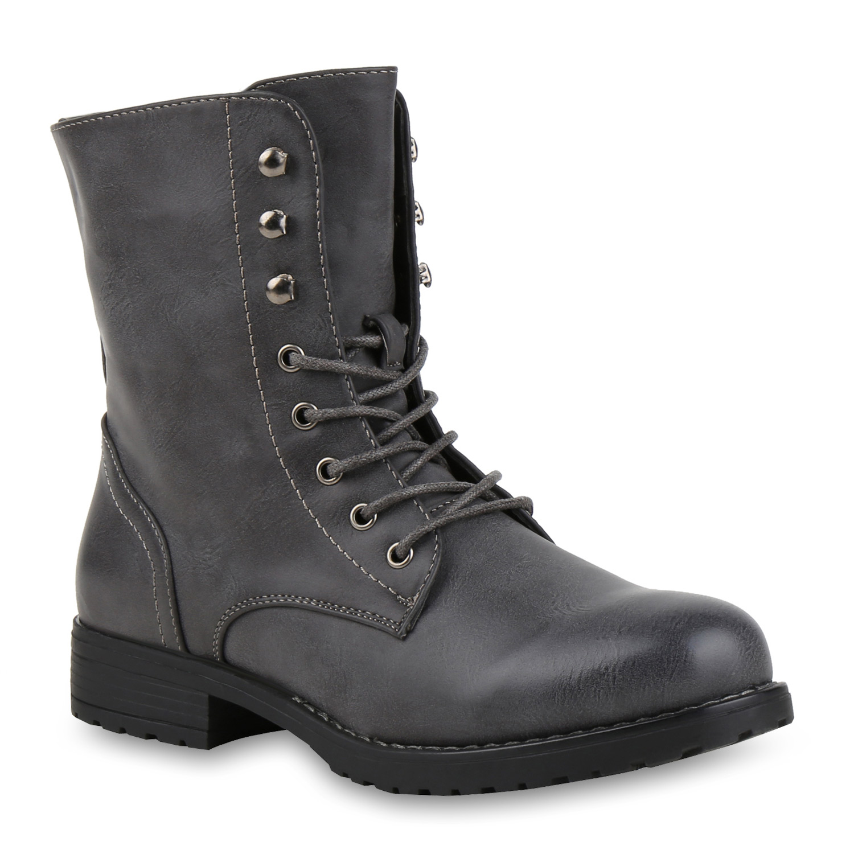 Derbe Damen Herren Stiefeletten Worker Boots Schnürstiefel Cut-outs 816848 Top