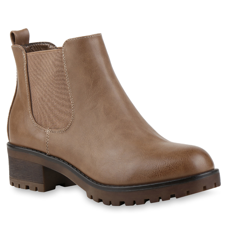 bequeme damen chelsea boots profilsohle stiefeletten blockabsatz 79018 schuhe ebay. Black Bedroom Furniture Sets. Home Design Ideas