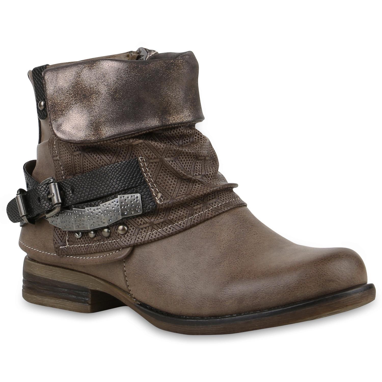 Damen-Biker-Boots-Nieten-Stiefeletten-Metallic-Schnallen-811829-Top