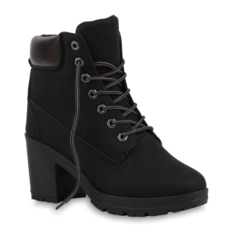 damen worker boots profil sohle block absatz stiefeletten. Black Bedroom Furniture Sets. Home Design Ideas