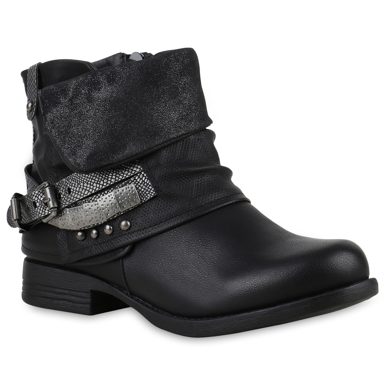 Damen-Biker-Boots-Nieten-Schnallen-Stiefeletten-Rockig-811990-Top