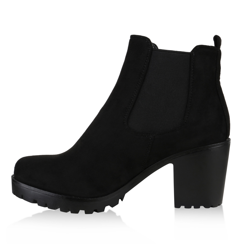 damen chelsea boots block absatz stiefeletten profil sohle. Black Bedroom Furniture Sets. Home Design Ideas