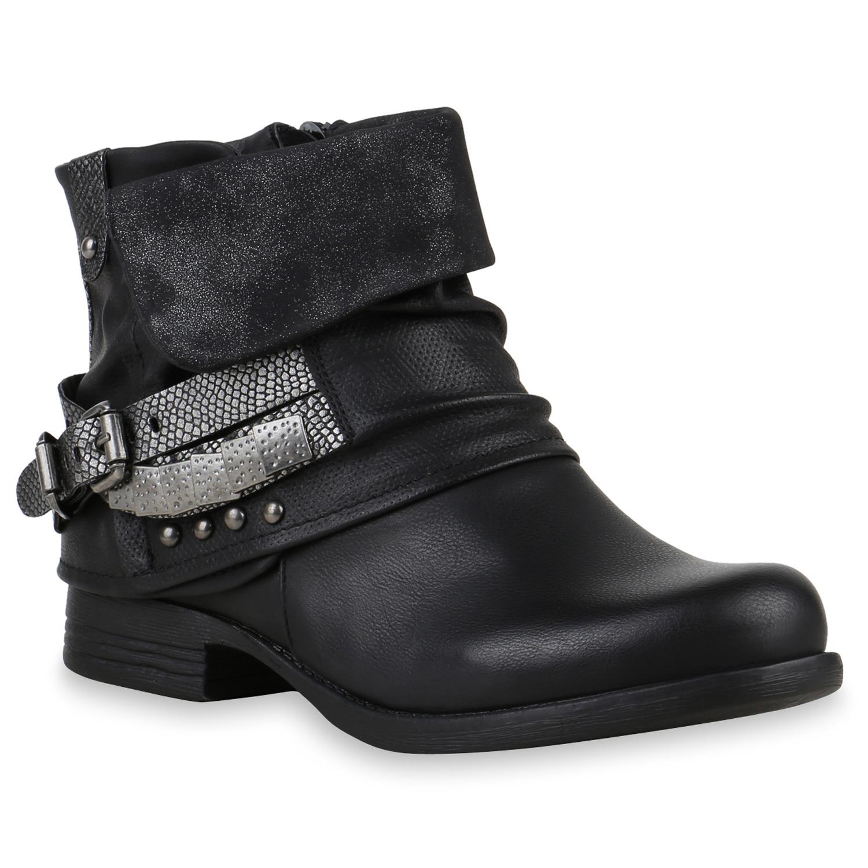 Damen Stiefeletten Stiefel Biker Boots Nieten Warm Gefüttert 70628  36-41 Schuhe