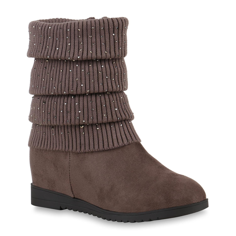 Profilsohle Boots Damen Top 78861 Keilabsatz Stiefeletten Wedges nxnqg41