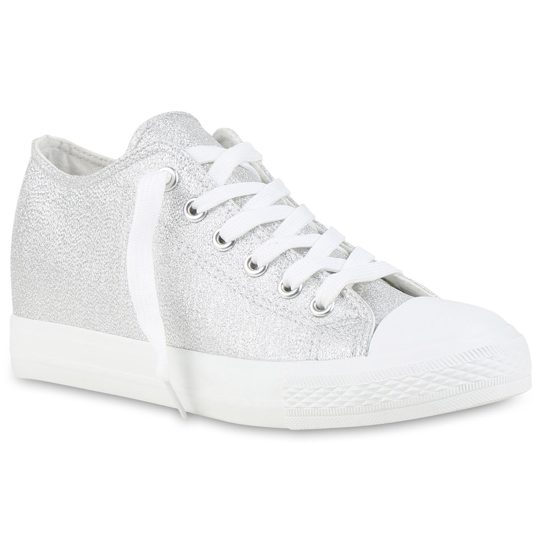 Sneaker-Wedges Damen Glitzer Sneakers Turnschuhe Keil Absatz 812556 Hot
