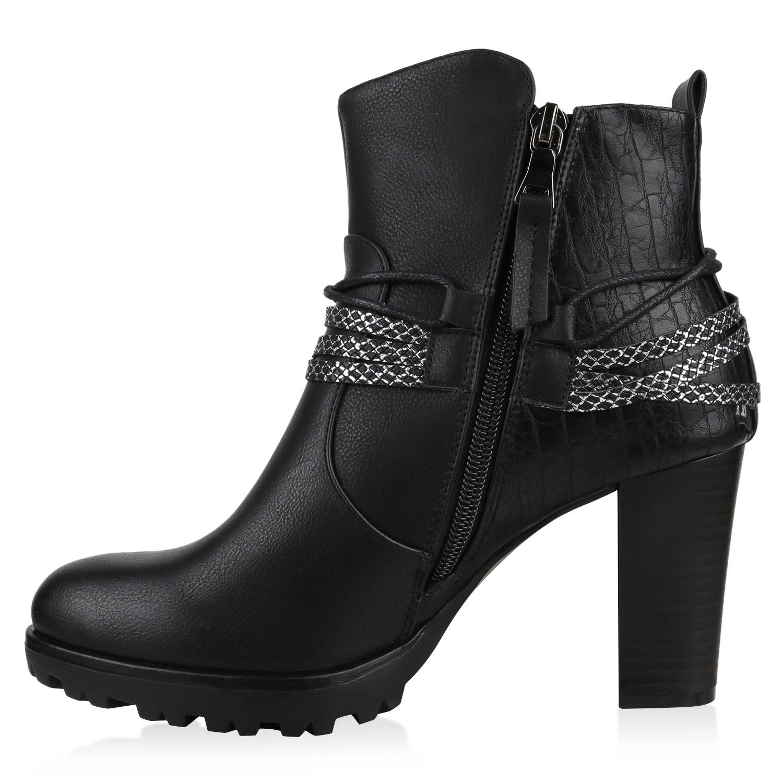 Gef tterte Ankle Boots Damen Nieten Prints Stiefeletten Absatz 812559 New Look