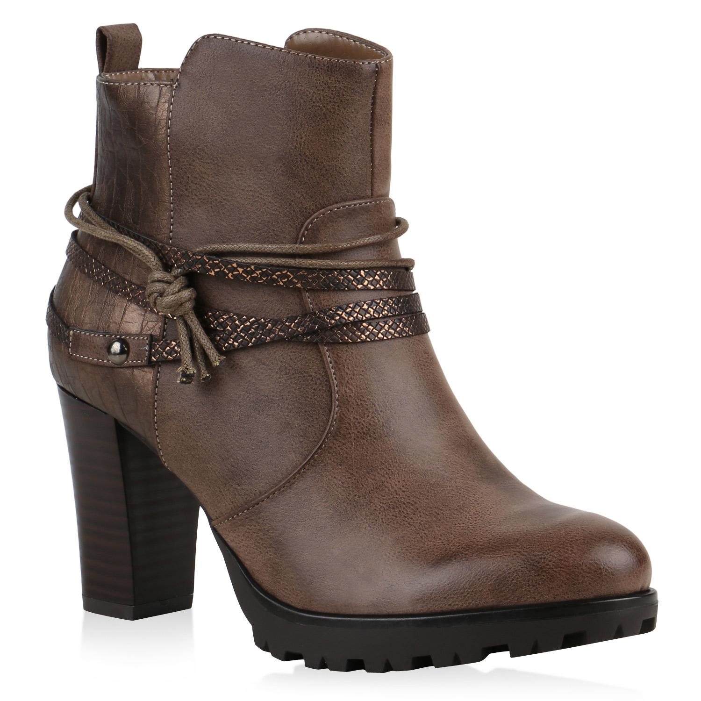 gef tterte ankle boots damen nieten prints stiefeletten. Black Bedroom Furniture Sets. Home Design Ideas