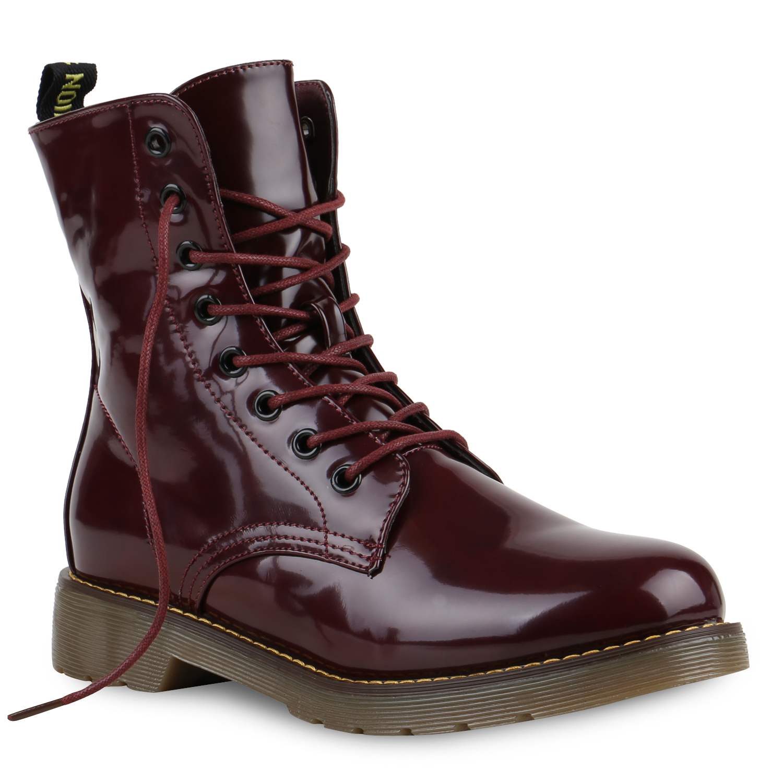 893808 Damen Worker Boots Lack Stiefeletten Grunge Profil Sohle Punk ... b911590628