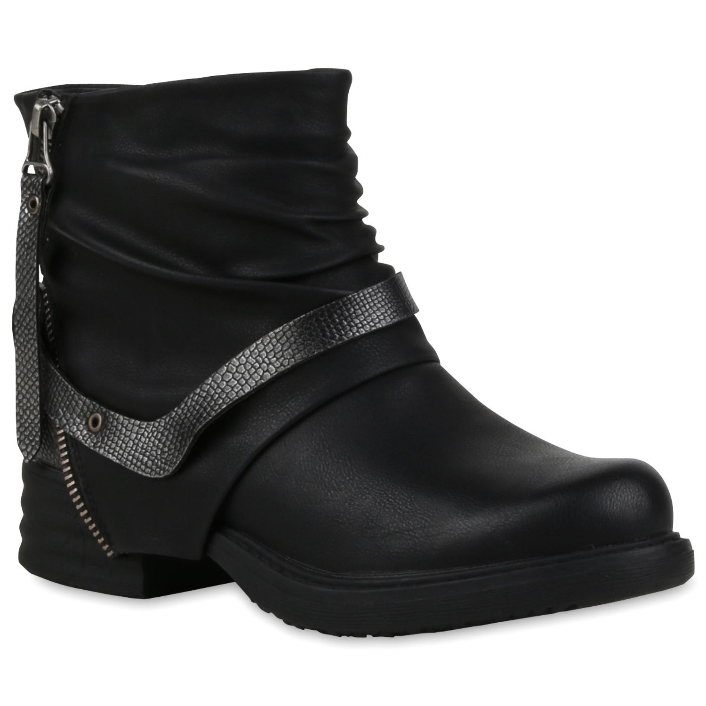 damen biker boots cut outs strass stiefeletten lederoptik 79971 schuhe ebay. Black Bedroom Furniture Sets. Home Design Ideas