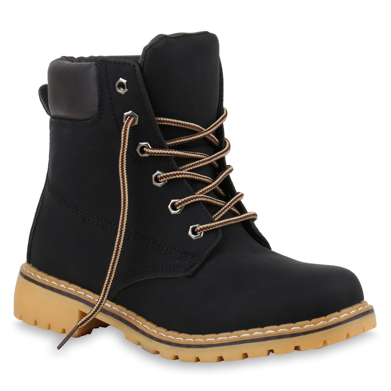 Damen Worker Boots Profil Sohle Stiefeletten Outdoor 812103 Schuhe