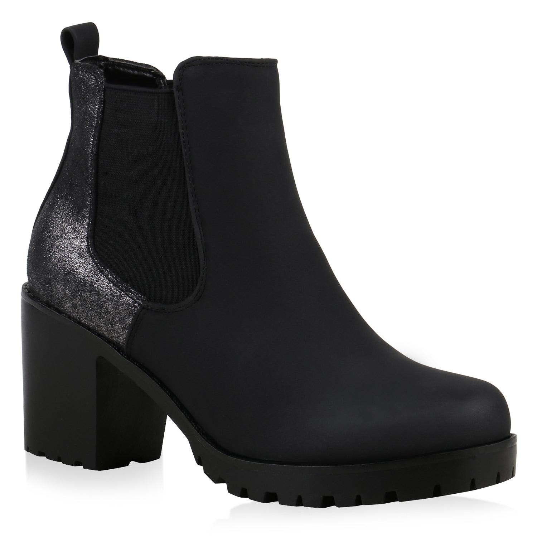 Damen Stiefeletten Chelsea Boots Profilsohle Blockabsatz 891196 Schuhe