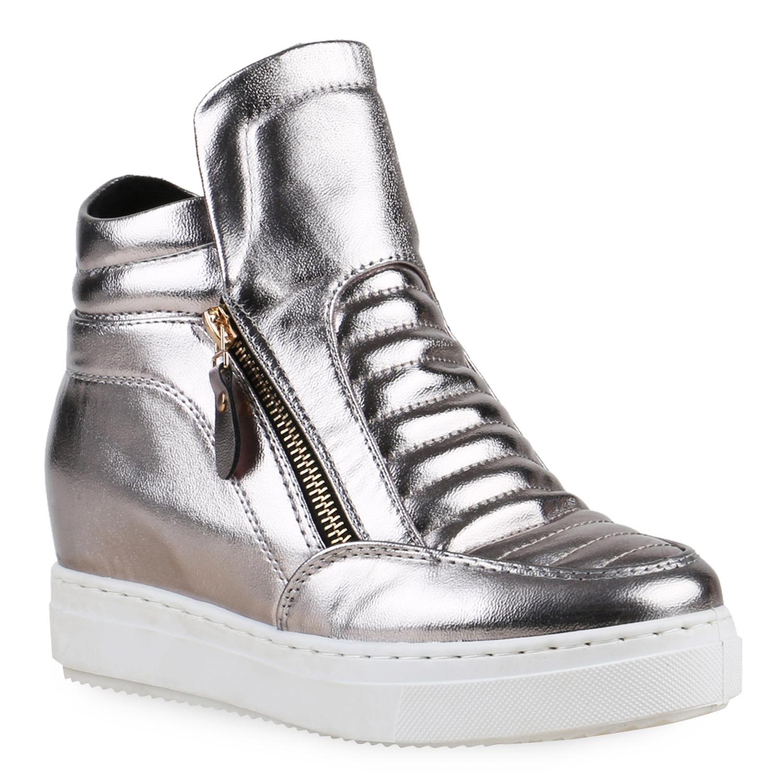 damen sneakers sneaker wedges keilabsatz schuhe metallic. Black Bedroom Furniture Sets. Home Design Ideas